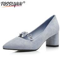 TASSLYNN 2018 Women Pumps Pointed Toe Blue Sweet Flower Wedding Shoes Ladies Sheep Skin +PU Square Med Heel Pumps Size 34 39