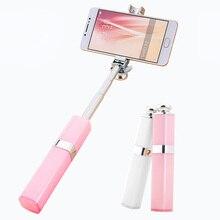 Мини помада Стиль Автопортрет Монопод Выдвижная Selfie stick для iPhone 6 6 S Samsung S7 смартфонов на базе Android подарок на день рождения