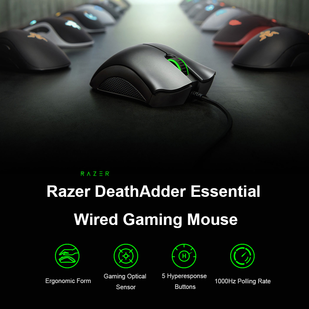 US $25 36 52% OFF|Razer DeathAdder Essential Ergonomic Professional Grade  Gaming Mouse 6400 DPI Optical Sensor Gamer For Computer Laptop PC Gamer-in