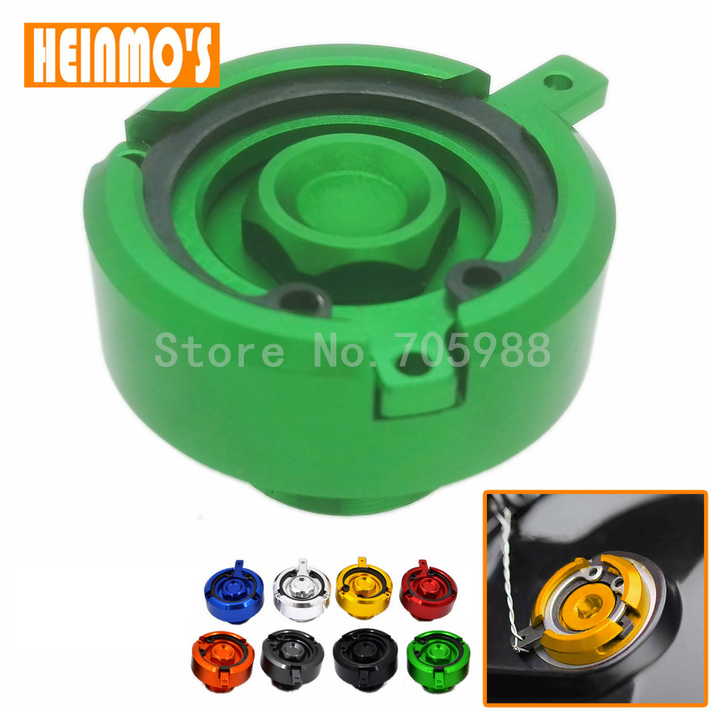 Motorcycle CNC Aluminum Engine Green Oil Filter Cup Plug Cover For Kawasaki Z800 Z1000 /SX VN650 ER6N ER6F ER4F For Tmax 500 530 aluminum water cool flange fits 26 29cc qj zenoah rcmk cy gas engine for rc boat
