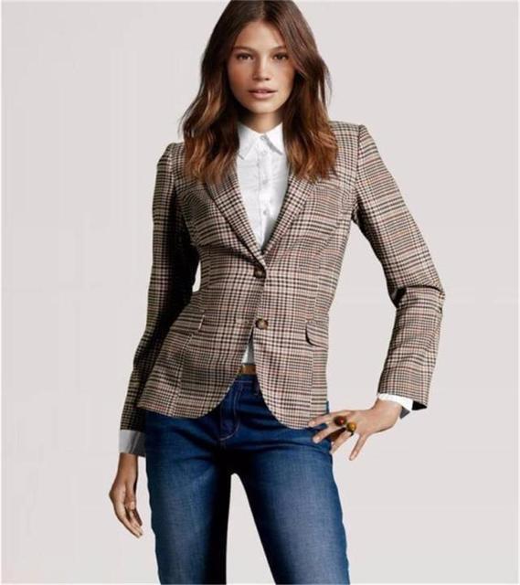 2015 nuevo estilo mujer Plaid codo parches dos botones