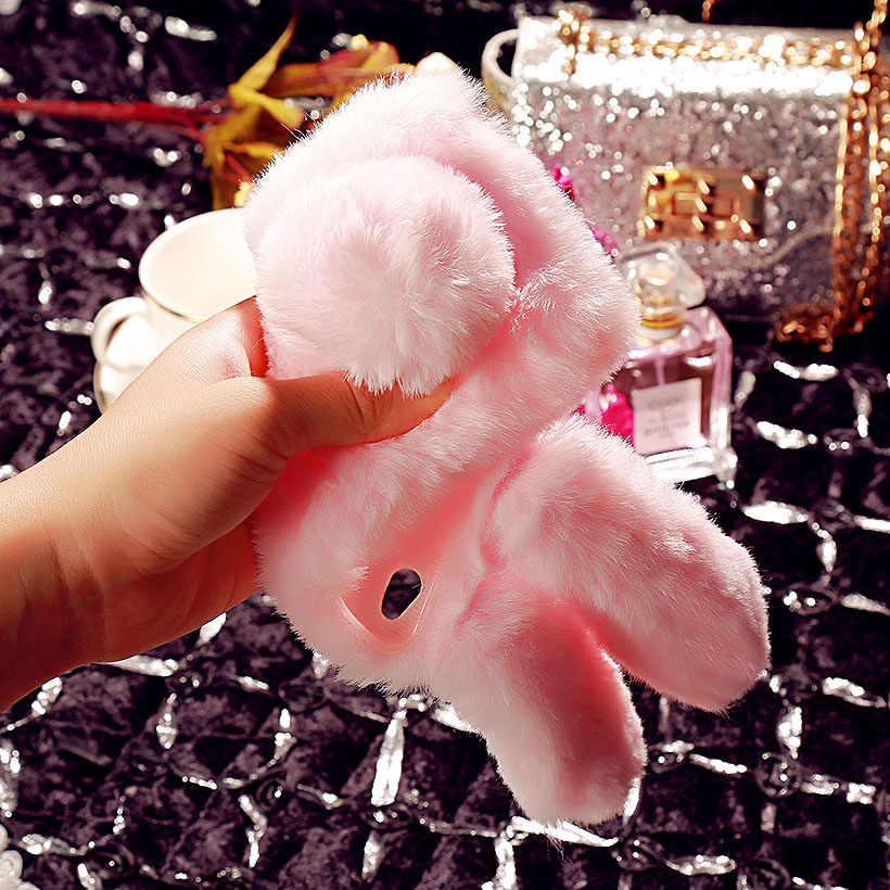 AKABEILA пушистый кролик мех силиконовый чехол для телефона ASUS ZenFone Go ZB500KL ZB500KG модный Алмазный чехол задняя крышка Fundas Shell