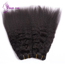KUNNA  Brazilian Kinky Straight Hair Weaves 1pcs #1B Black Kinky Straight Virgin Hair Wefts 100g/pcs Brazilian Virgin Hair