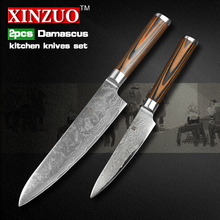 XINZUO 2 pcs kitchen knives set Damascus kitchen knife high quality Japanese VG10 chef utility knife wood handle free shipping