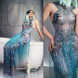 Модное Длинное платье со стразами для вечеринки, женское Клубное платье без рукавов с кисточками, Синие сексуальные танцевальные костюмы д...
