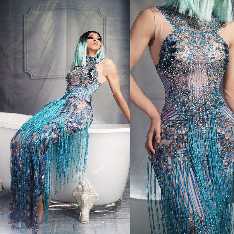 Moda cristais strass festa vestido longo sem mangas feminino borla clube vestido azul sexy jazz cantor dançarino trajes de palco