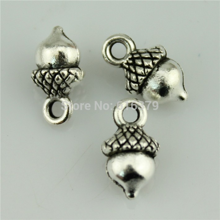 Free Shipping 50Pcs Antique Silver Zinc Alloy Nut Charms Pendants for Jewelry Making charm Handmade DIY 13*7mm