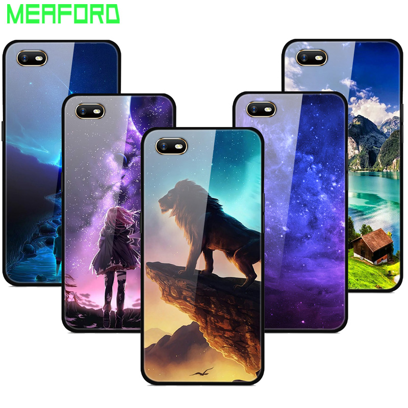 For Coque Oppo A1k Case Tempered Glass Planet Space Cover Glass Back Case for Oppo A1k Coque Shell  For Oppo A1k A1 k A 1k Cover
