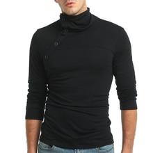 Man'S T-Shirt 2019 New Tee Tops Hip Hop Long Sleeve Stylish Slim Fit T-Shirt Button Placket Turtleneck Casual Men T Shirt 3XL side button surplice long sleeve t shirt for men