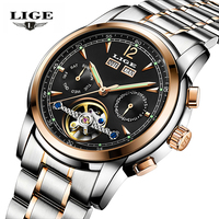 Relogios Masculino LIGE Skeleton Tourbillon Mechanical Automatic Watch Men Classic Full Steel Fashion Sport WristWatcheMen Clock