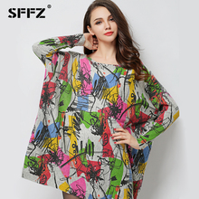2017 Új őszi női gyapjú ruhák Plus méretű hosszú ujjú laza felső Graffiti nyomtatás női pulóver túlméretezett kötés ruha