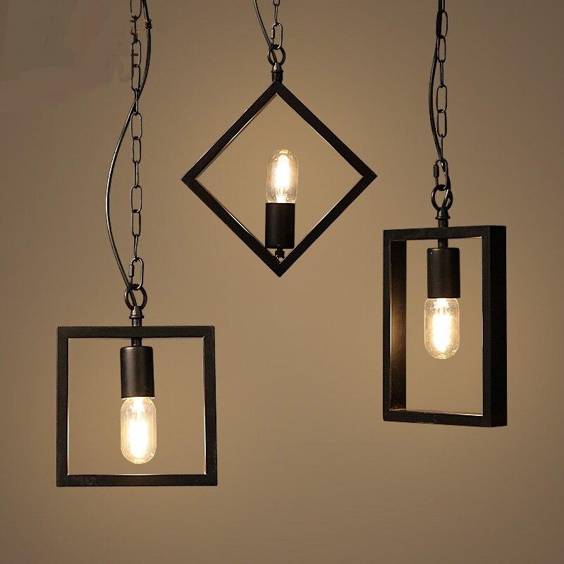 Геометрический творческой гладить Открытый Подвесные Светильники лампы бар ретро промышл ...