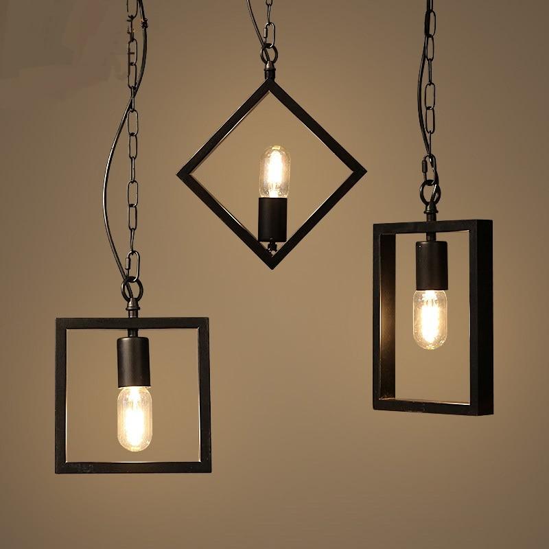 Geometric art creative Iron Pendant Lights Lamp bar retro industrial wind Pendant lamps hone lighting Iron retro personality ZA