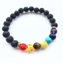 7 Chakra charm Bracelets & Bangle colorful Stone women girls Lava beads Bracelet