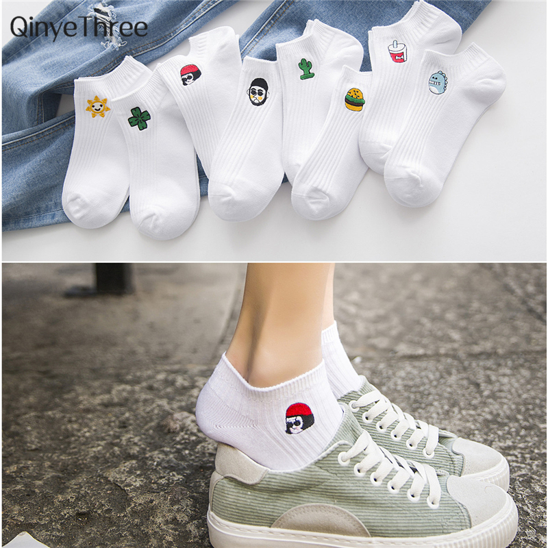 Women White Harajuku Cute   Socks   Female Short   Socks   Hipster Skateboard Ankle Funny   Socks   Embroidery Coke Girl Killer Cactus Love