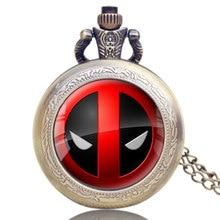 Buy Fashion American Comic Badass Deadpool Pocket Watch Men Women Quartz Watches Cartoon Characters Clock for Children Male Gifts directly from merchant!