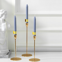 Europe Modern Golden Candle Holders Metal plating process candelabra Candlelight Dinner Romantic Candlestick Home Wedding Decor
