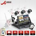 Plug & Play 7 Polegada Tela de LCD Kit NVR 4CH Sem Fio Sistema de Segurança Câmera de CCTV 1 TB HDD 720 P HD de Vigilância Ao Ar Livre Câmera IP Wi-fi