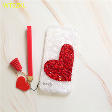 Luxury Diamond Love Heart Phone Case For iPhone X XS XR Max 6 6S 7 8 Plus Bling Rhinestone Soft TPU Shell Cover Coque
