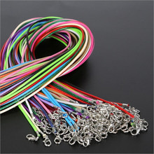 20pcs 1.5mm/2mm Leather Wax Rope Cord Necklace Chain DIY String Strap Rope with Lobster Clasp Leather Jewelry Chain Z572