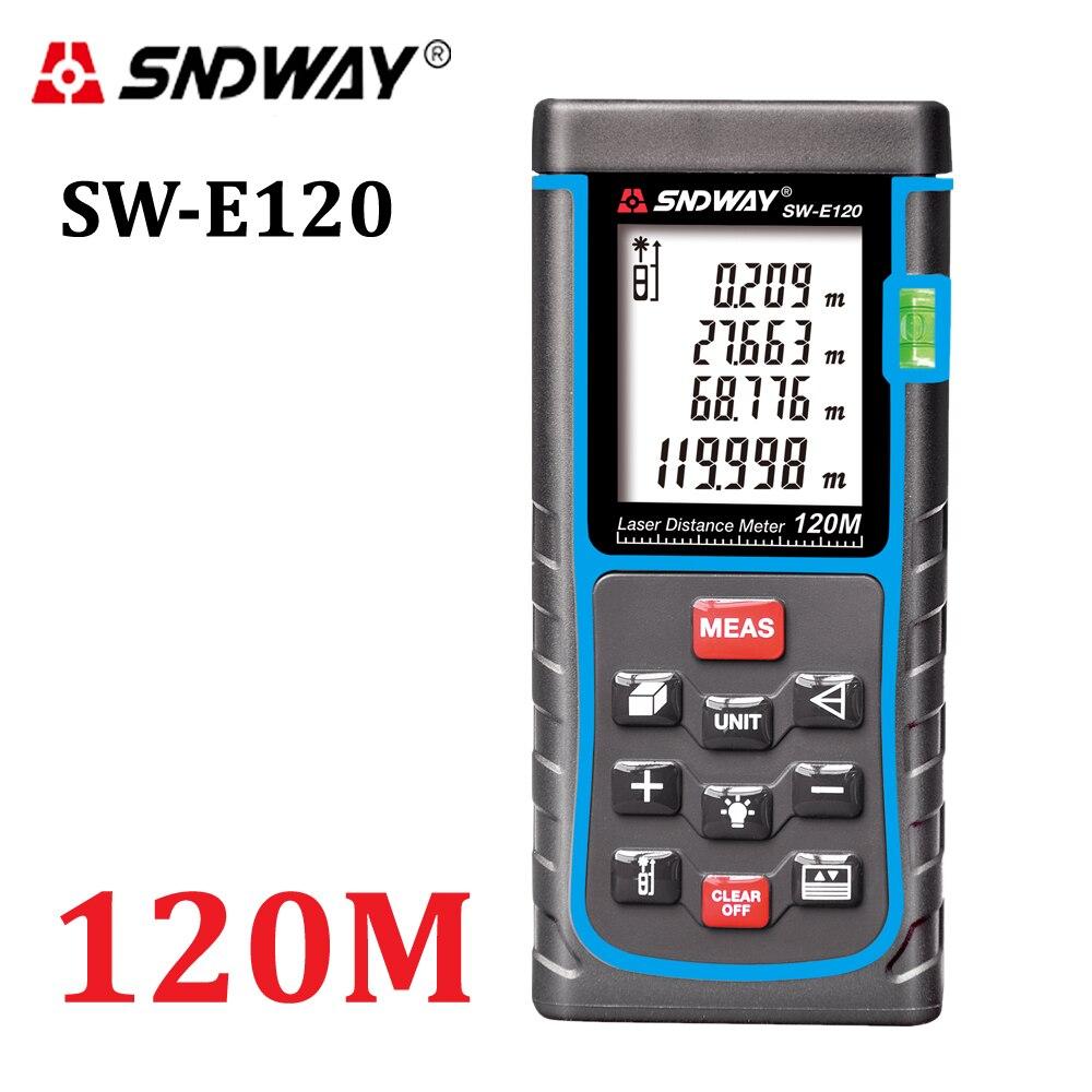 Medidor de distancia láser Digital 120 metros telémetro cinta medir distancia/área/volumen M/Ft/en distancia regla ruleta herramientas