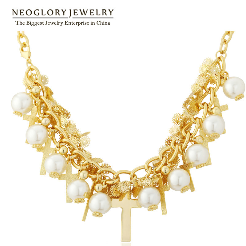 Neoglory Light Yellow Gold Color Simulated Pearl Statement Chain ...