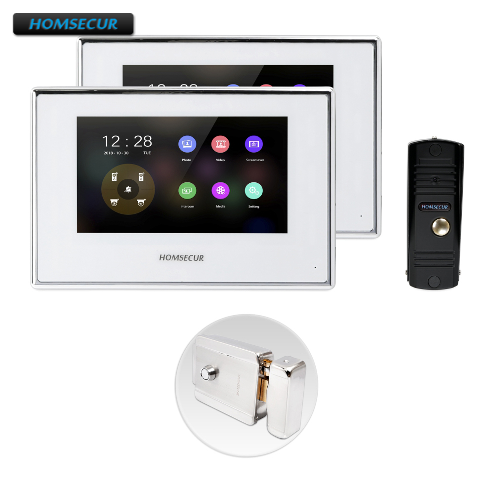 HOMSECUR 4 Wire Video&Audio Home Intercom With Memory Monitor For House/Flat BC011HD-B+BM718HD-W