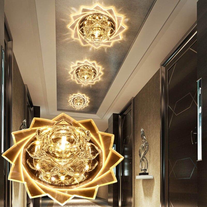 LAIMAIK plafond LED cristal Lumière 3 W 5 W Moderne plafonnier à LED en cristal Lumière Couloir allée lumière LED AC90-260V Lotus Plafonniers
