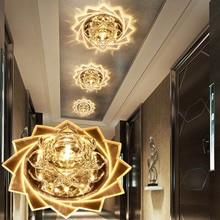 LAIMAIK Crystal Ceiling Light 3W 5W AC90-260V Modern LED Lamp Aisle Corridor Porch Hall Lighting Lotus Lights