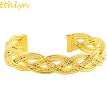 Ethlyn 2017 Ethiopian Bangle for Women Gold Color & Copper Bracelet for Teenage Girl Fashion Jewelry Birthday Gifts B059