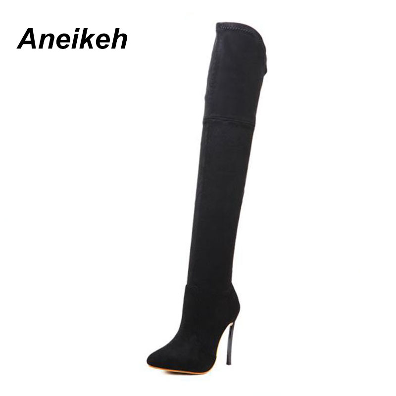 2018 Spring Autumn Women Boots Stretch Slim Thigh High Boots Fashion Over  the Knee Boots High Heels Shoes Woman Sapatos D 226 -in Over-the-Knee Boots  from ... 4d8aad2e4940