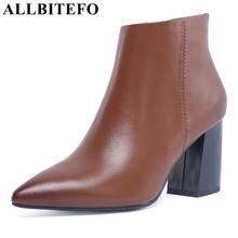 0cb8ae01 ALLBITEFO cuero genuino del dedo del pie en Punta mujeres del alto talón  botines zapatos de