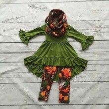 2016 bébé filles AUTOMNE/Hiver 3 pièces avec écharpe tenues bébé filles floral vêtements filles boutique vêtements enfants floral tenues