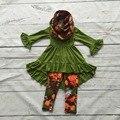 2016 meninas do bebê OUTONO/Inverno 3 peças com cachecol outfits bebê meninas floral roupas meninas boutique de roupas crianças floral outfits