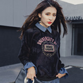 [XITAO] 2017 Korea style spring velvet false two piece long sleeve all-match patchwork denim turn down collar sweatshirts MMJ003