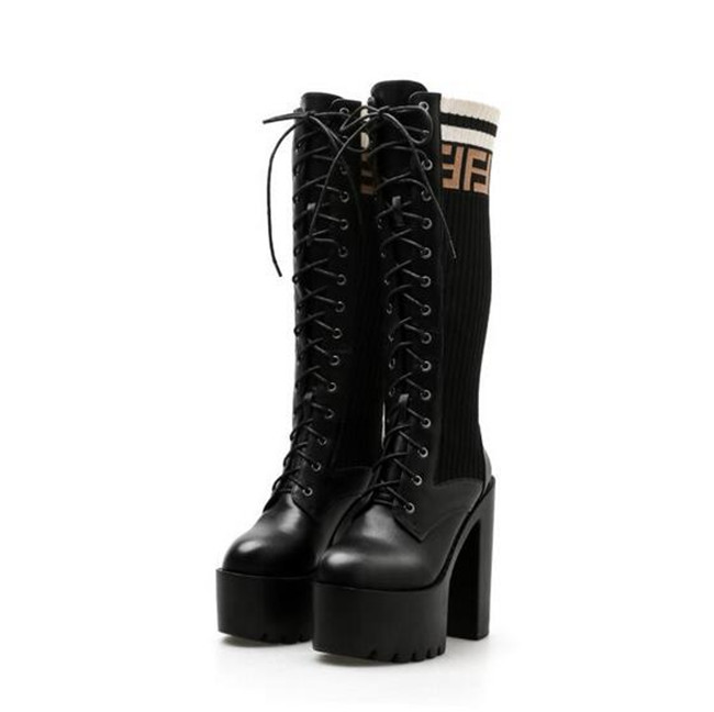 c8cf831024671 PXELENA Gothic Punk Rock Knee High High Boots Women Lace Up Knitting ...