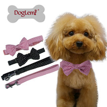 Fashion Polka Dot  bowtie for dog adjustable dog bow tie collar Cute Bowtie Grooming Pet Jewelry Collar Leash  2 Colors