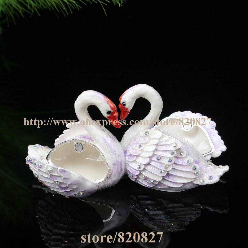 Lover Swans Trinket Box Bejeweled Beautiful Gentle Swan Handmade Jeweled Trinket Box Swan Handmade Jeweled Metal Trinket Box