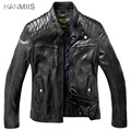 Hanmiis 2014 calf skin genuine leather motorcycle clothing male leather jacket stand collar male genuine leather design short