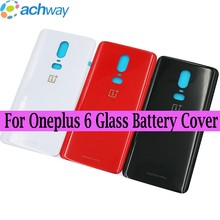 Oneplus 6 Battery Cover Back Glass Oneplus6 Rear Door Housing Case Oneplus 6T Back Panel Oneplus 6 Battery Cover With Adhesive(China)