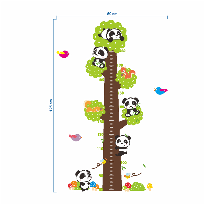 Lovely Baby Pandas Tree Growth Chart Wall Stickers For Kids Room Decor Nursery Animals Mural Art Diy Children Height Home Decals In From