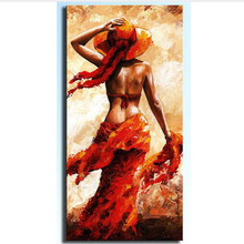 Knife Handpainted Red Woman Figure Painting Abstract Nude Oil Paintings On Canvas Wall Art