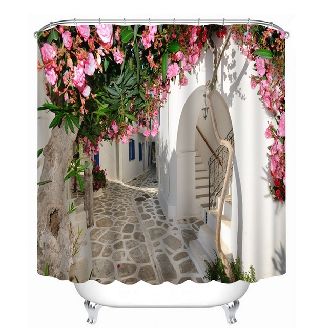 New 3D Shower Curtain Flowers Landscape Wall Pattern Bathroom Waterproof Washable Bath Products