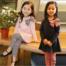 JENYA spring&autumn girls clothing set children bowknot dress+striped pants 2pcs set twinset kids clothes pink and blue 2-8y цена