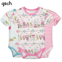 GSCH Sale Baby Girl Clothes Short Sleeve 3Pcs Baby Romper Cotton Cartoon Rabbit Newborn Infant Baby Jumpsuits & Rompers(China)