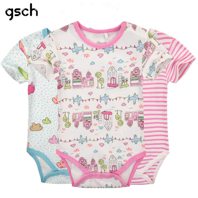 853359295247 GSCH Sale Baby Girl Clothes Short Sleeve 3Pcs Baby Romper Cotton Cartoon  Rabbit Newborn Infant Baby Jumpsuits   Rompers