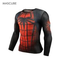 Venta Caliente Marvel MASCUBE Deporte Compresión Camisa Hombres Corriendo Camisas Spiderman Comic Cachorros Machos Jersery Crossfit Culturismo Camisetas