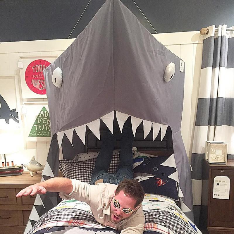 Noir requin canopy tente pour les enfants enfants jouets jouer tente requin bébé accroché dôme mosquite net décoration lit rideau lit netti A983