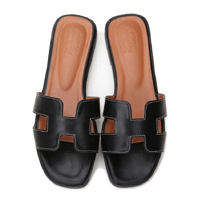 c0c73c20a14 Luxury brand slippers women cut out summer beach sandals women slides  outdoor slippers indoor slip on flip flops plus size 34-43
