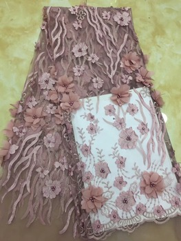 Beaded French Nigerian Laces Fabrics High Quality Tulle African Laces Fabric Wedding African French Tulle Lace TS7613